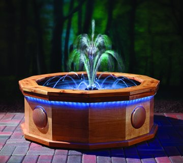 Asian style fountain with lights think