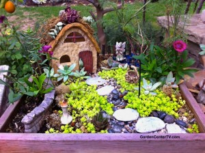 Fairy cottage miniature garden by Shirley Bovshow with stone house, succulent room and mini garden decor