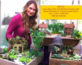 Shirley Bovshow stands with her miniature village and fairy gardens she created for the Home and Family Show on Hallmark channel